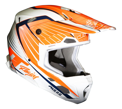 JT RACING USA- ALS 2.0 Helmet, Orange/White/Navy