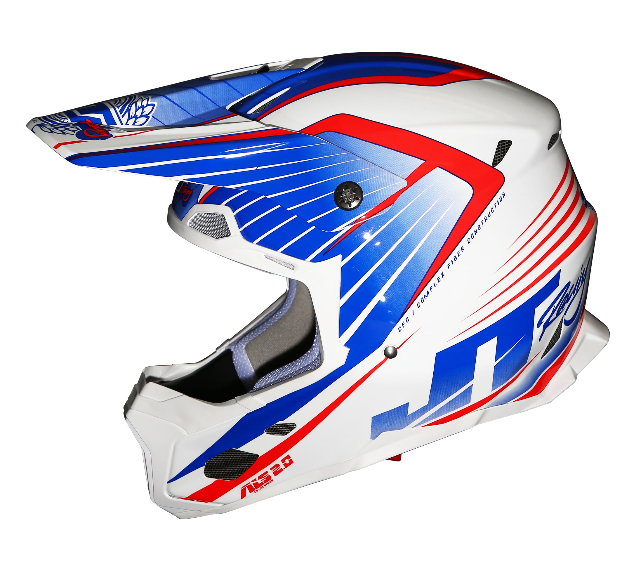 JT RACING USA- ALS 2.0 Helmet, Blue/White/Red