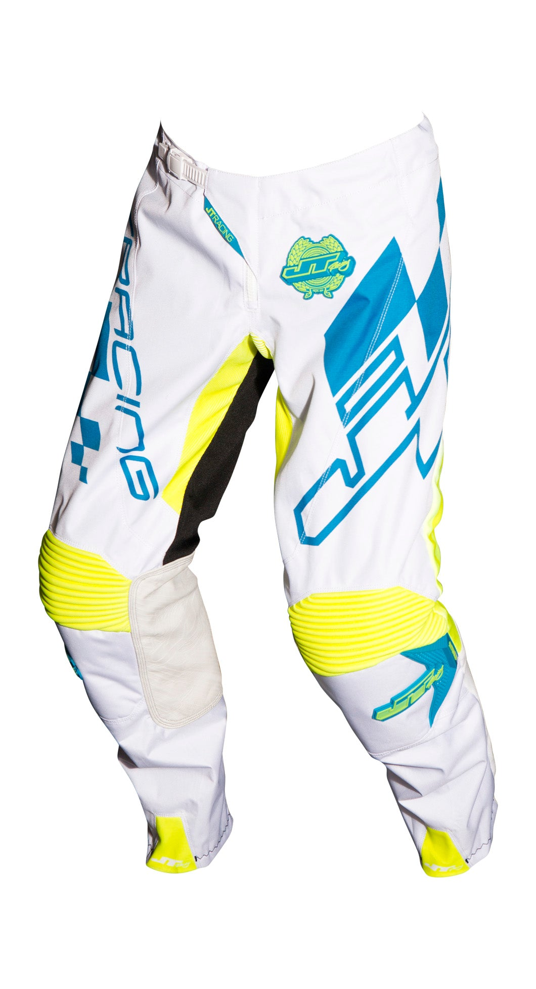 JT RACING USA-2018 Hyperlite Checker Pants, Cyan/White/Neon Yellow