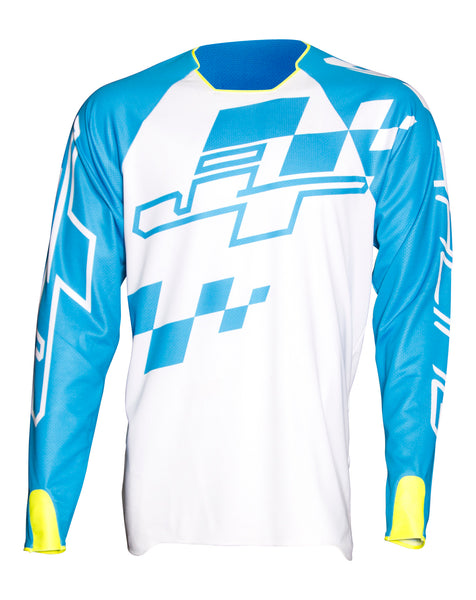 JT Racing USA-Hyperlite Checker Jersey, Cyan/White/Neon Yellow