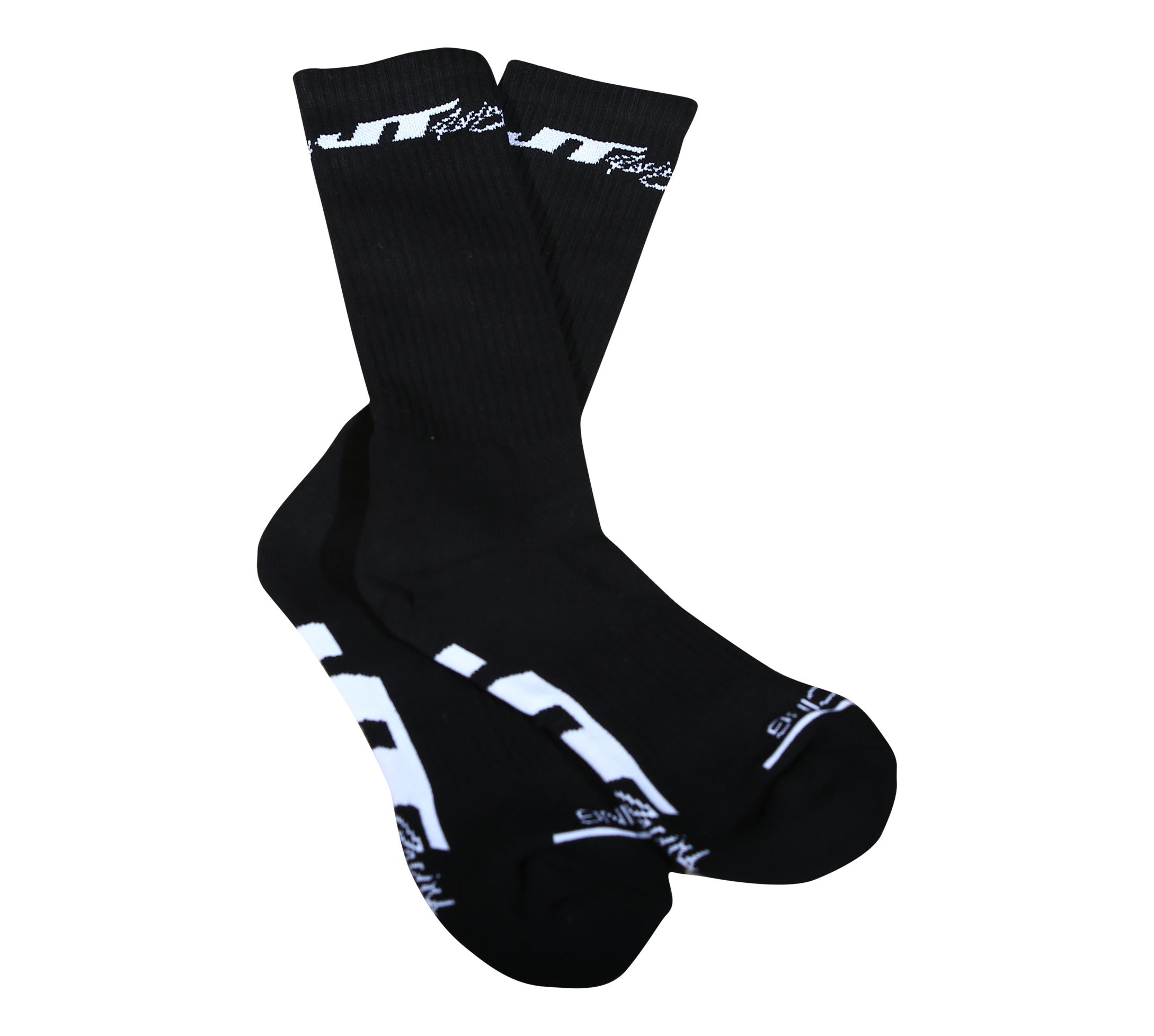 JT Racing-Crew Socks, Black/White