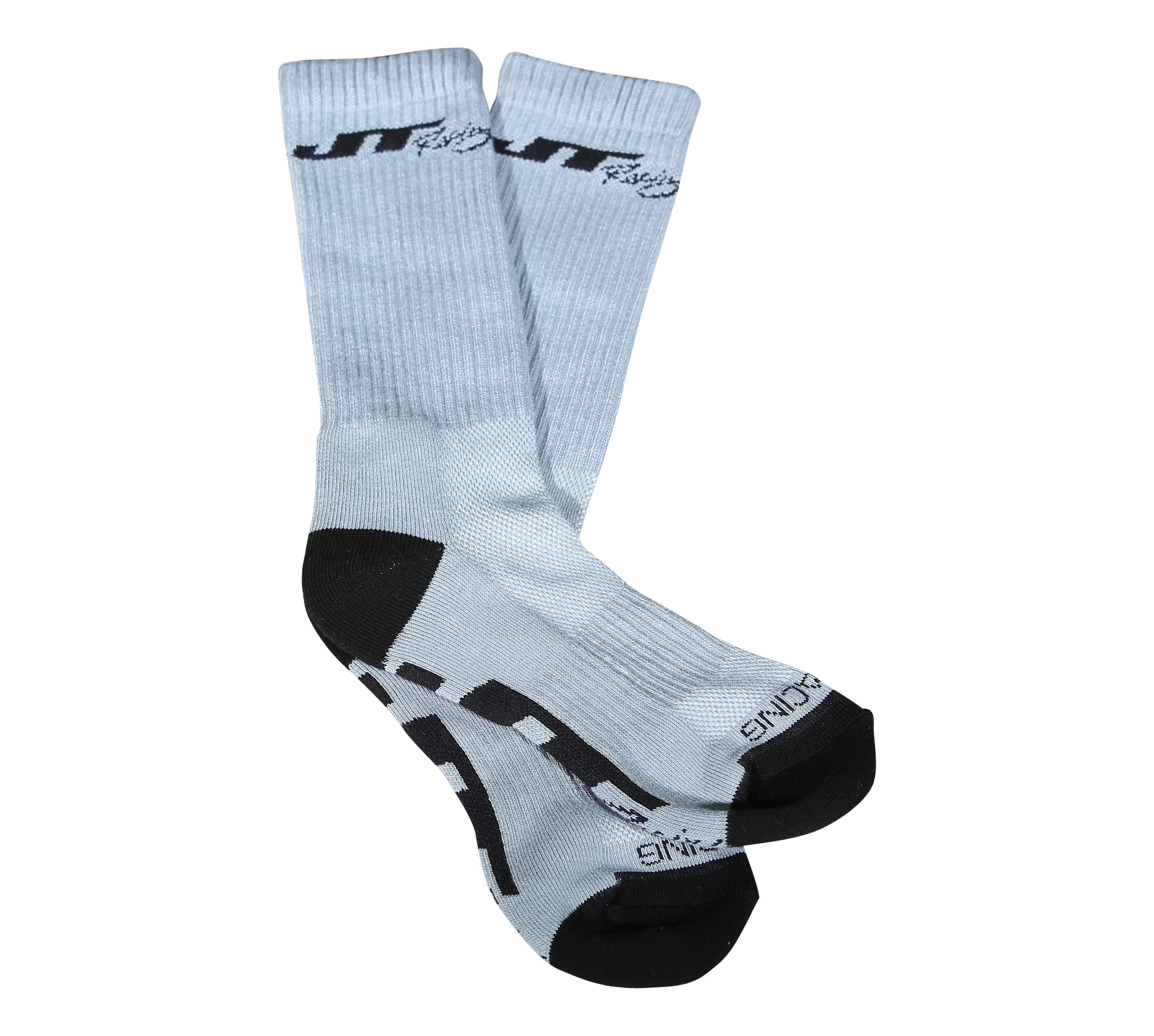 JT Racing-Crew Socks, Grey/Black
