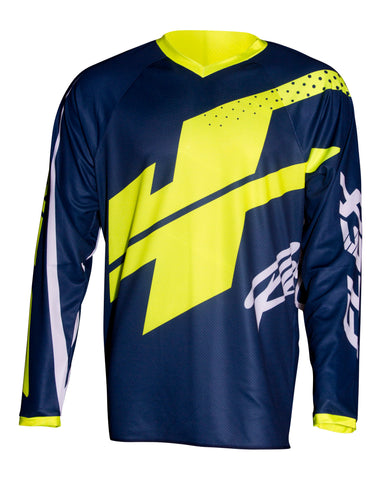 JT RACING-USA  Flex Hi-Lo Jersey, Navy/Neon Yellow