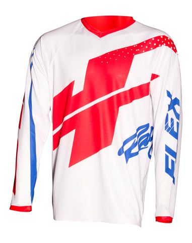 JT RACING USA-Flex Hi-Lo Jersey, White/Red/Blue