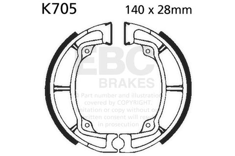 KX 250 A/A3/A4/A5 '75-'79 KX 250 A6/A7 '80-'81 #K705G  EBC Brake Shoes  Set