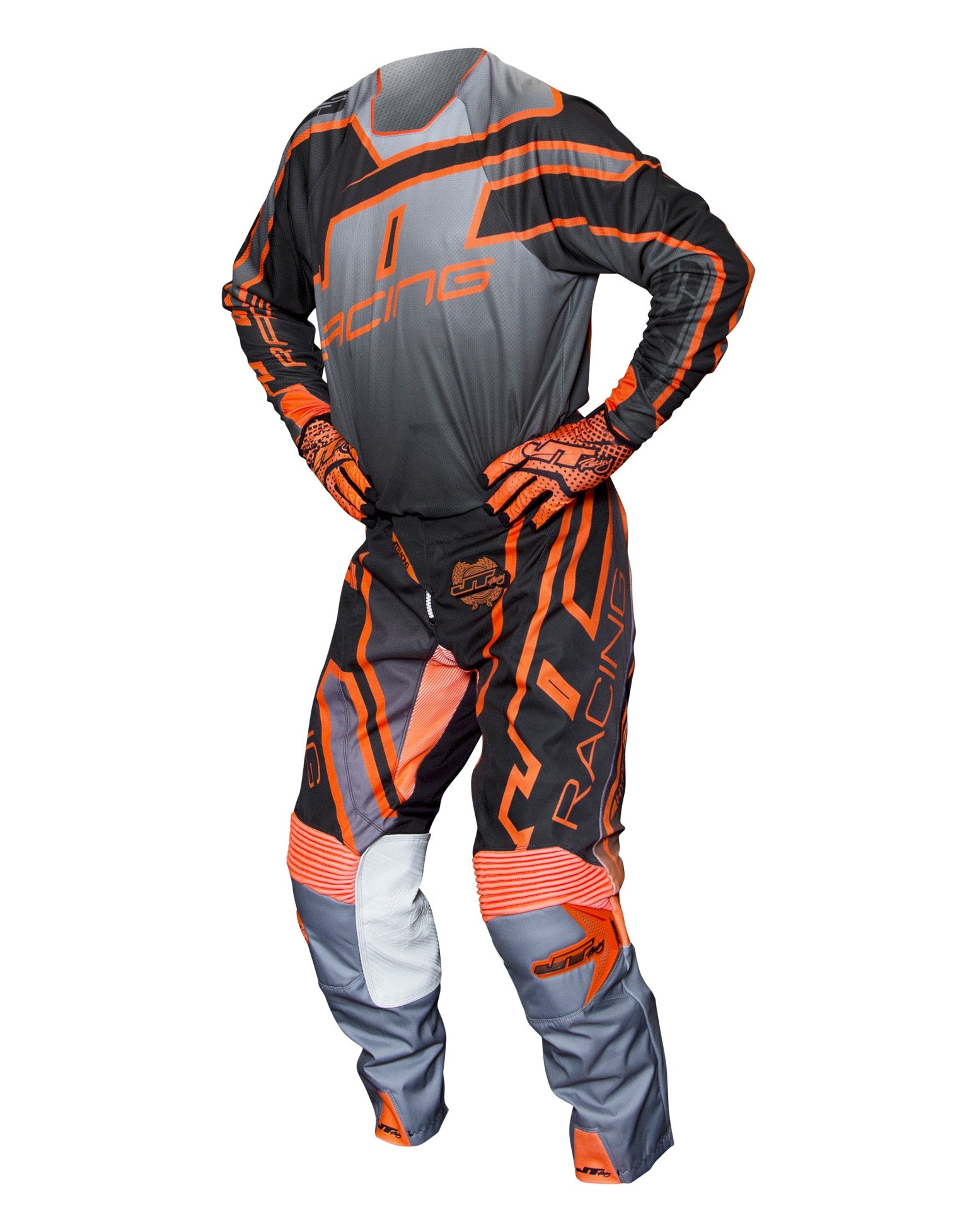 JT RACING USA Hyperlite Revert Pants, Grey/Black/Orange