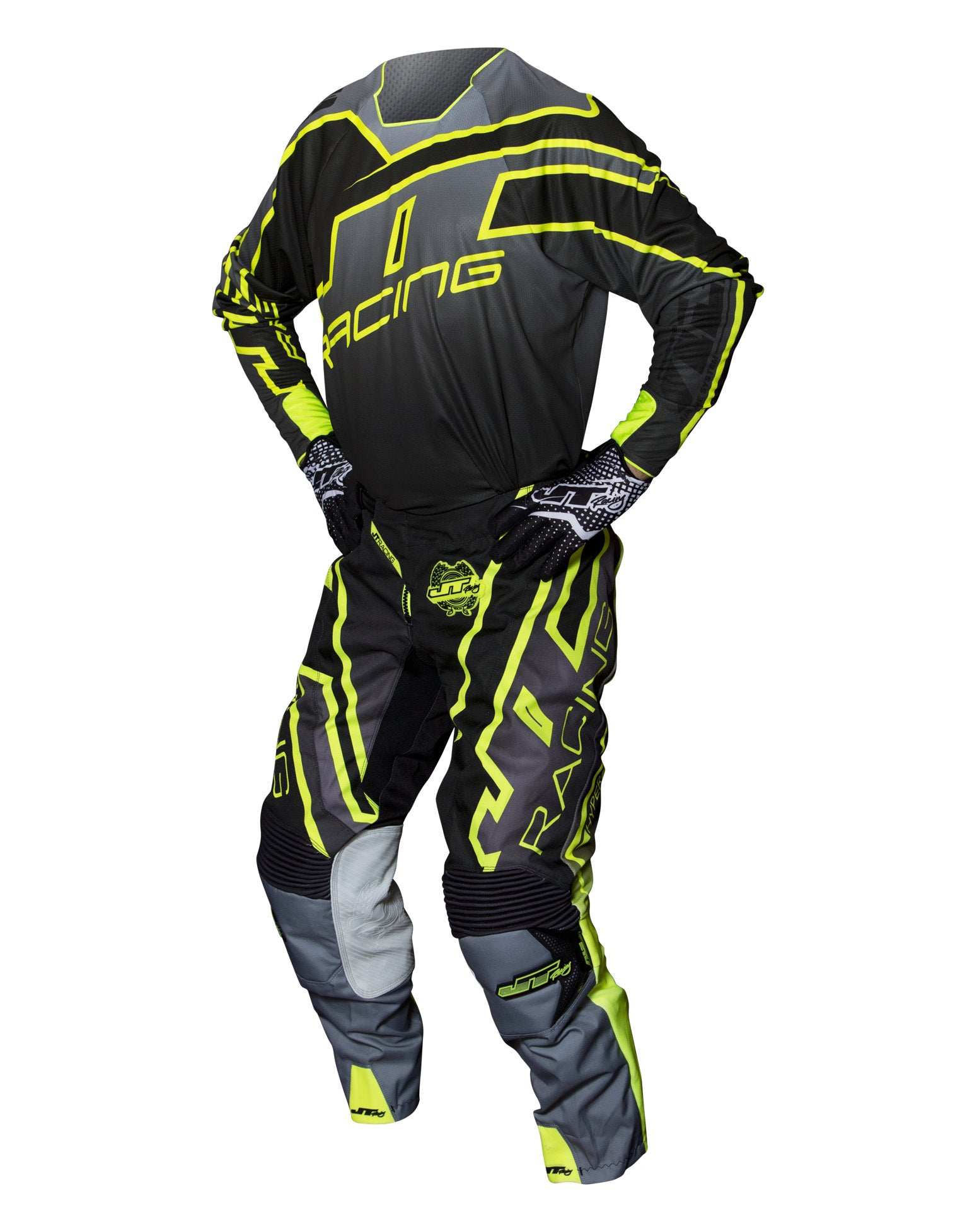 JT RACING USA  Hyperlite Revert Pants, Grey/Black/Yellow