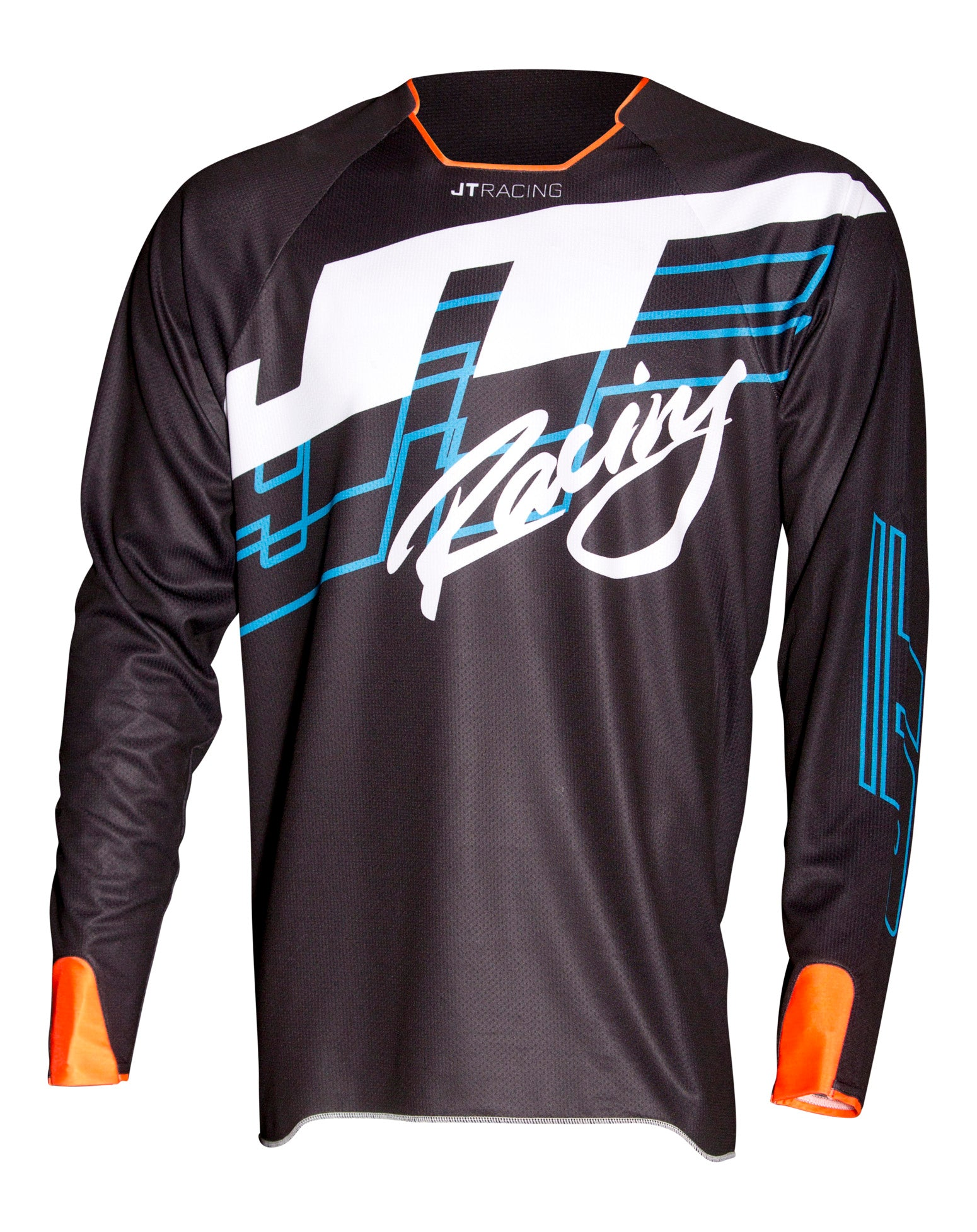 JT Racing USA-Hyperlite Shuffle, Jersey, Black/Cyan/Fluro Orange