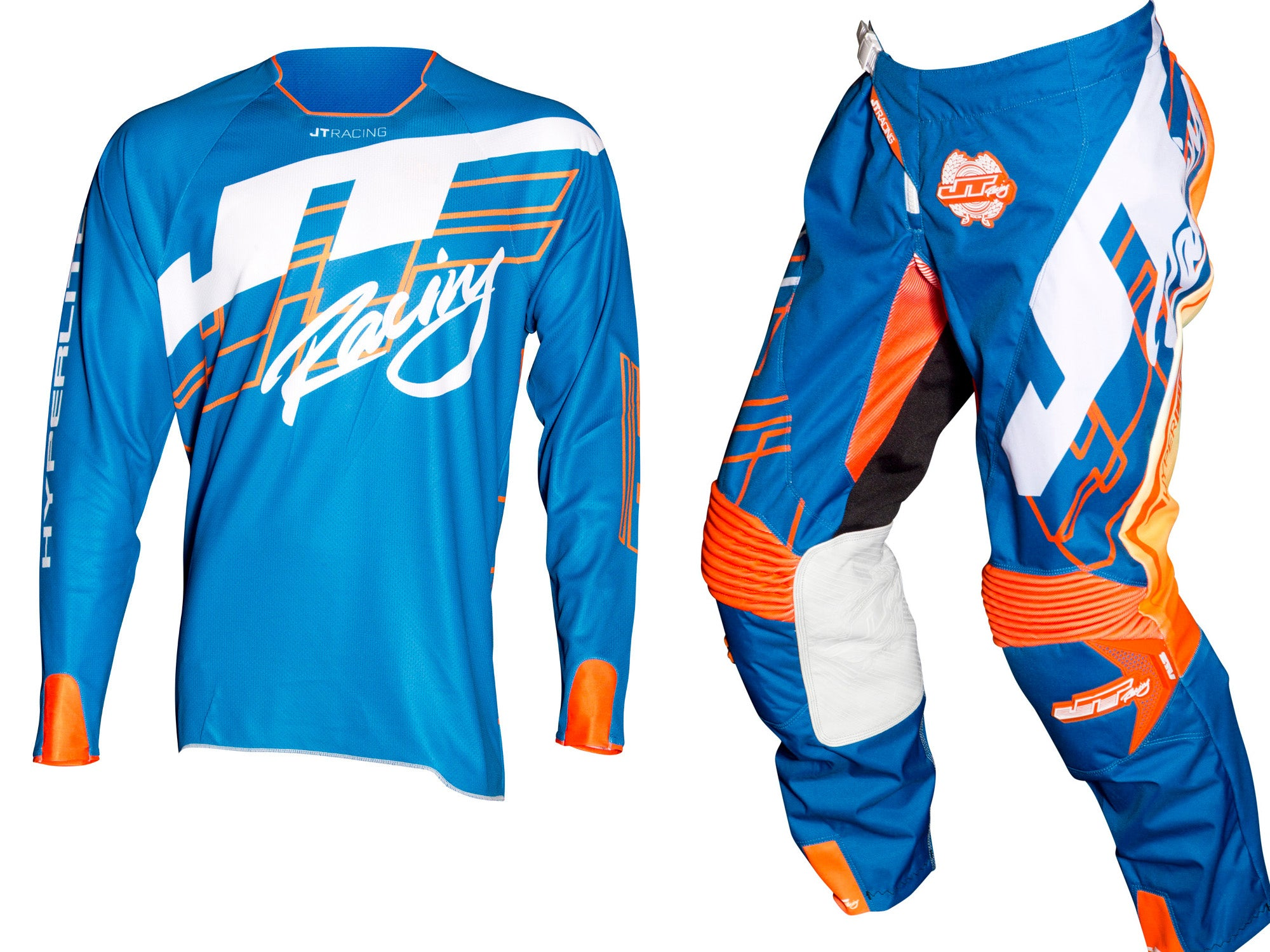 JT Racing USA-Hyperlite Shuffle Jersey, Blue/Fluro Orange/White