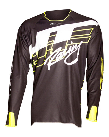 JT Racing USA-Hyperlite Shuffle Jersey, Black/Neon Yellow/White