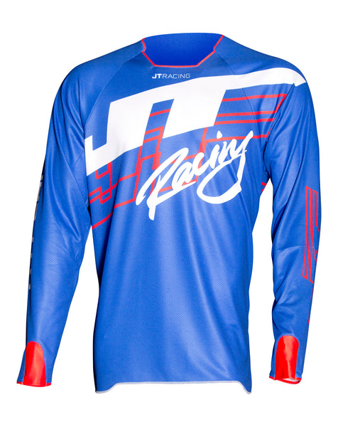 JT Racing USA-Hyperlite Shuffle Jersey, Blue/Red/white