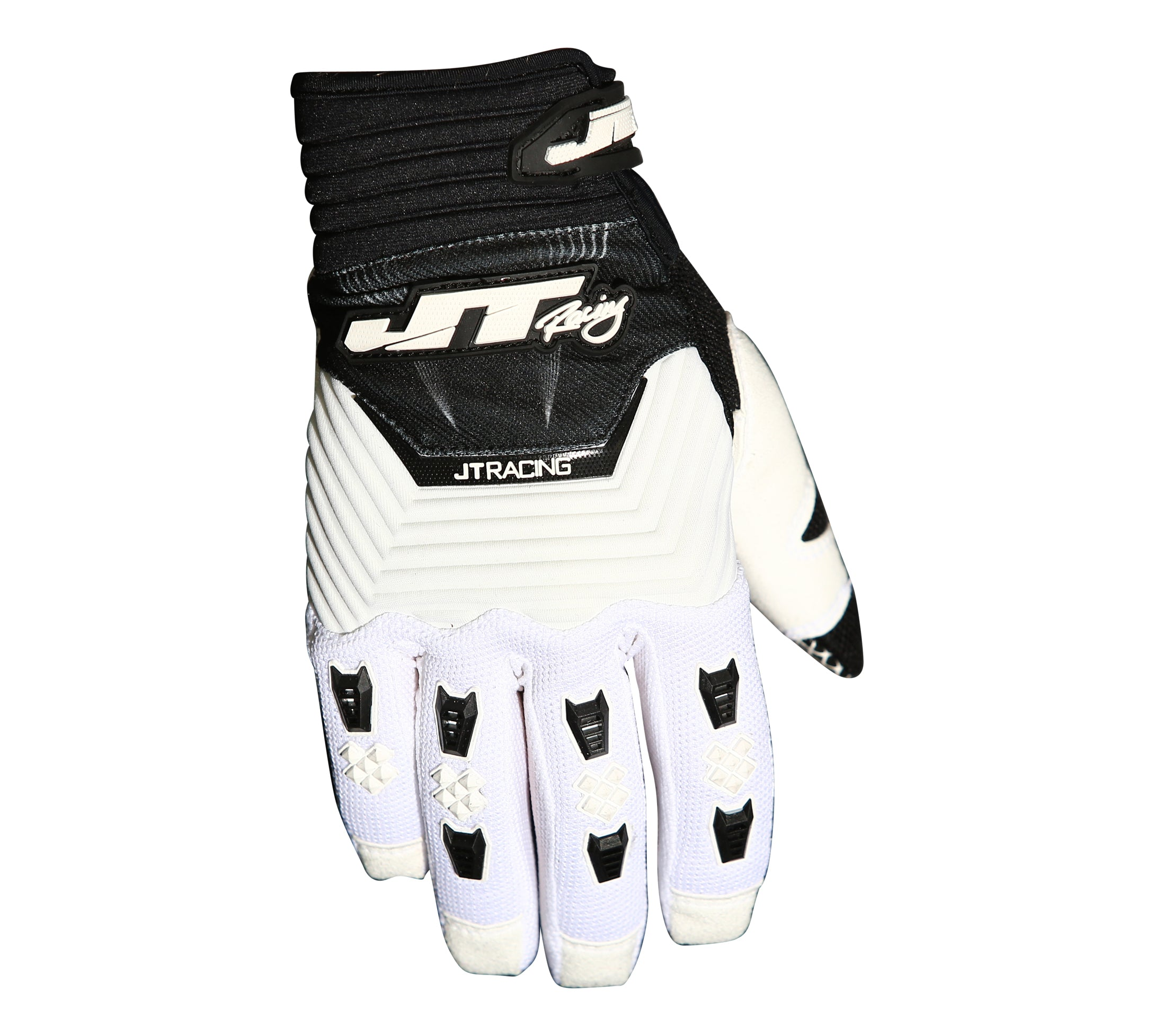 JT Racing Throttle Gloves, Black/White