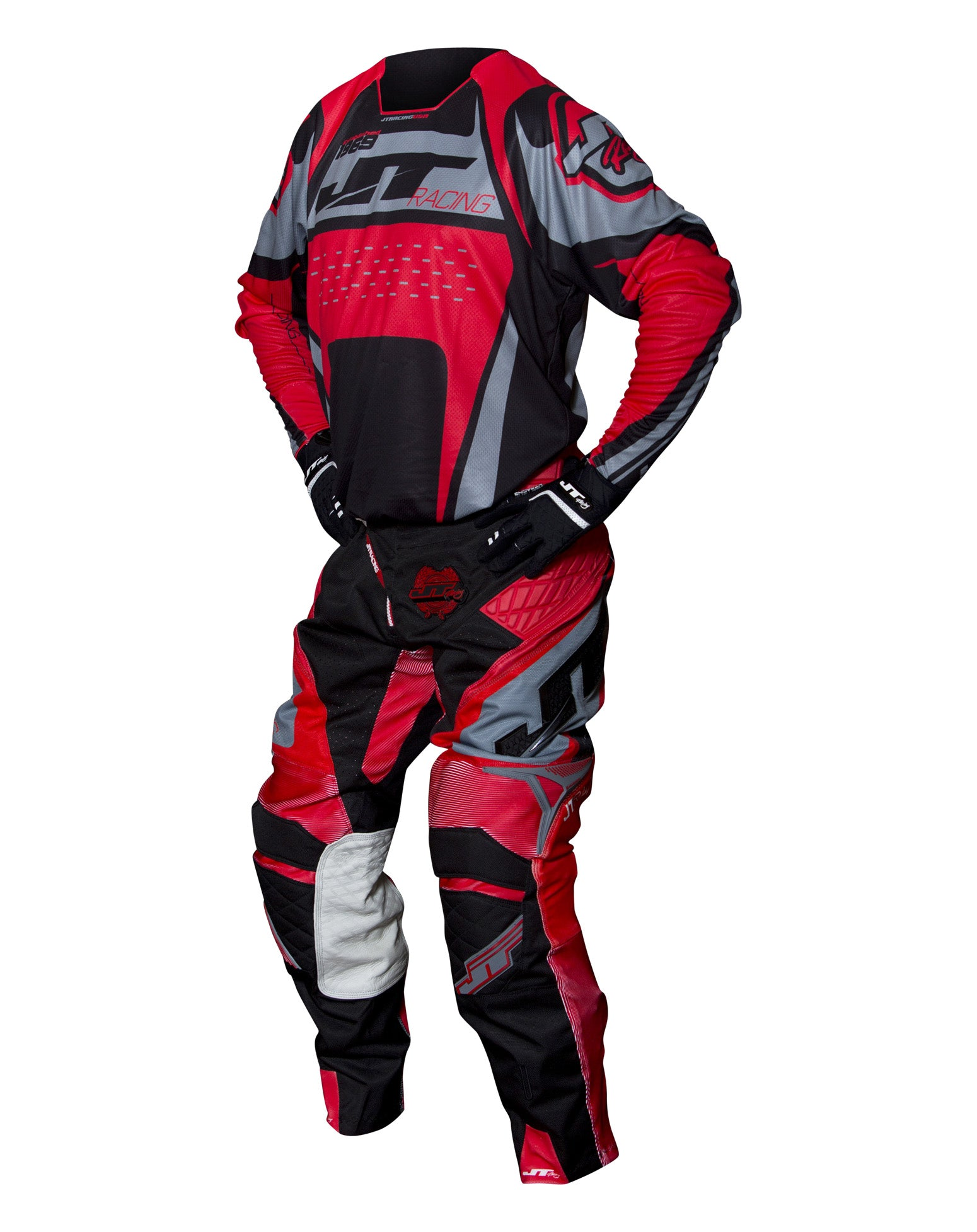 JT RACING USA-2017 ProTek Trophy pants, Black/Grey/Red