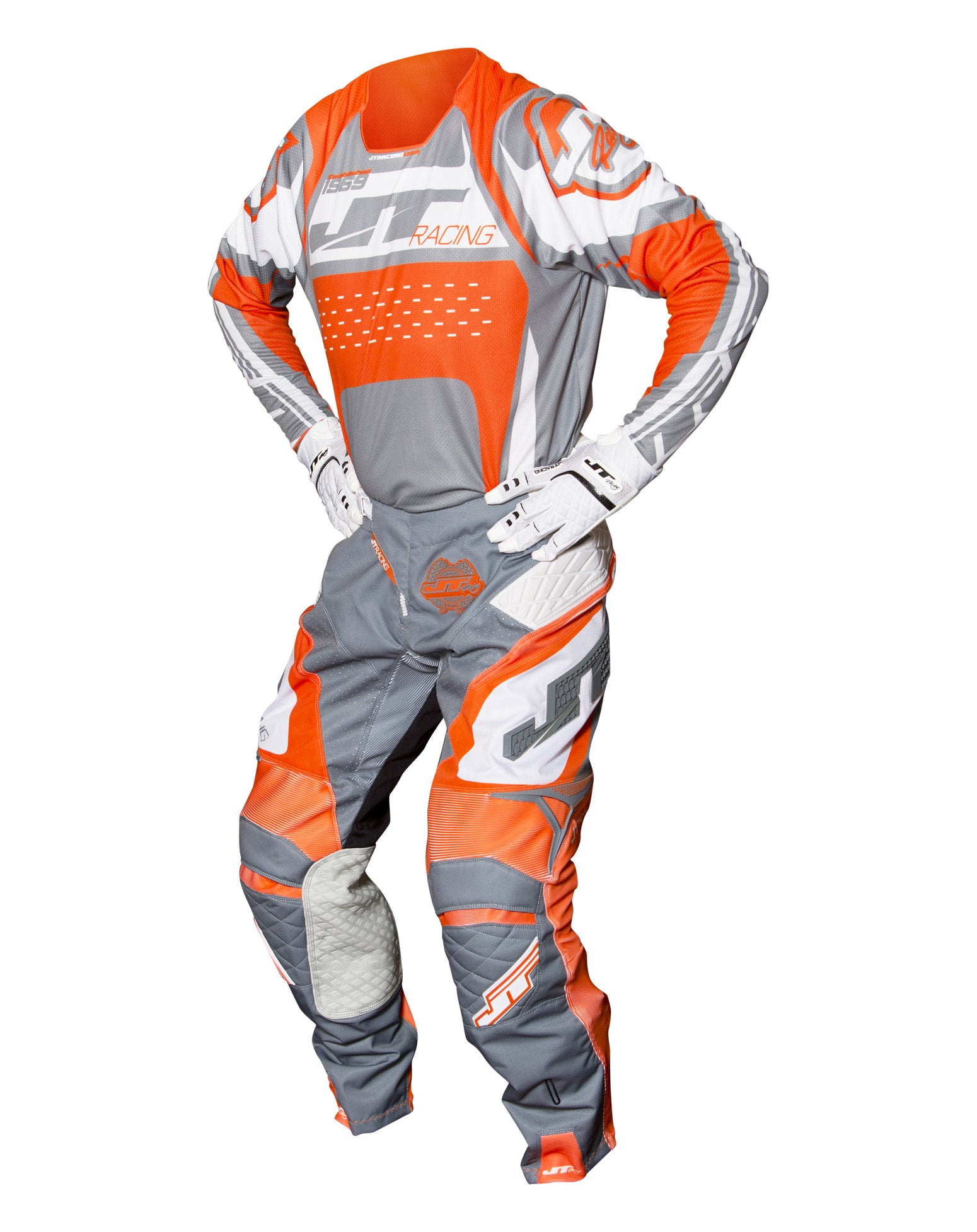 JT RACING USA-2017 ProTek Trophy pants, Grey/Orange/White