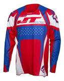JT RACING USA ProTek Trophy Jersey, Red/Blue/White