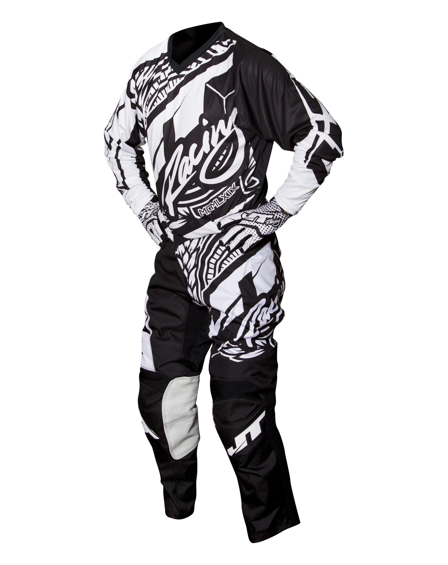 JT RACING USA Flex-Victory Pants, Black/White