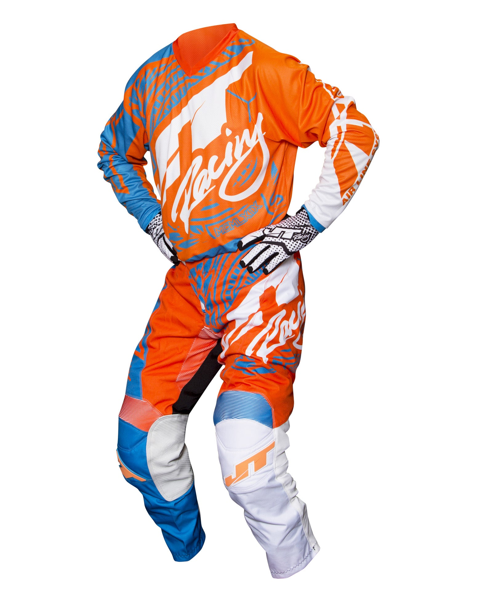 JT RACING USA Flex-Victory Pants, Cyan/Orange