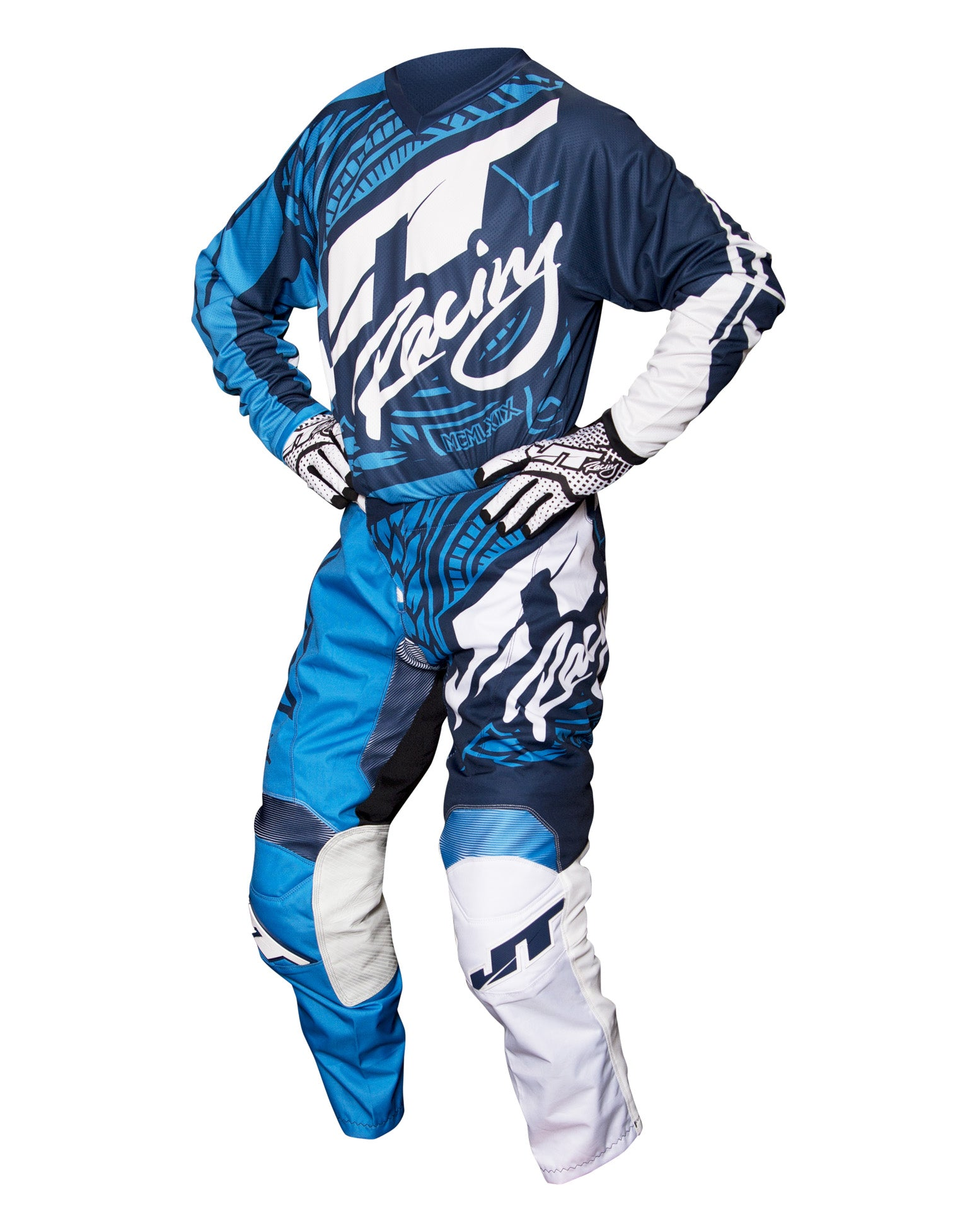 JT RACING USA Flex-Victory Pants, Navy/Cyan
