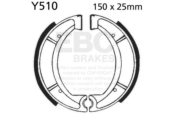 Yamaha DT/XT/IT/YZ rear EBC Brake Shoes  #Y510