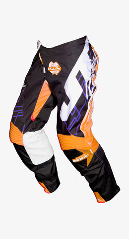 JT RACING USA  Hyperlite Shuffle Pants, Black/Cyan/Fluro Orange