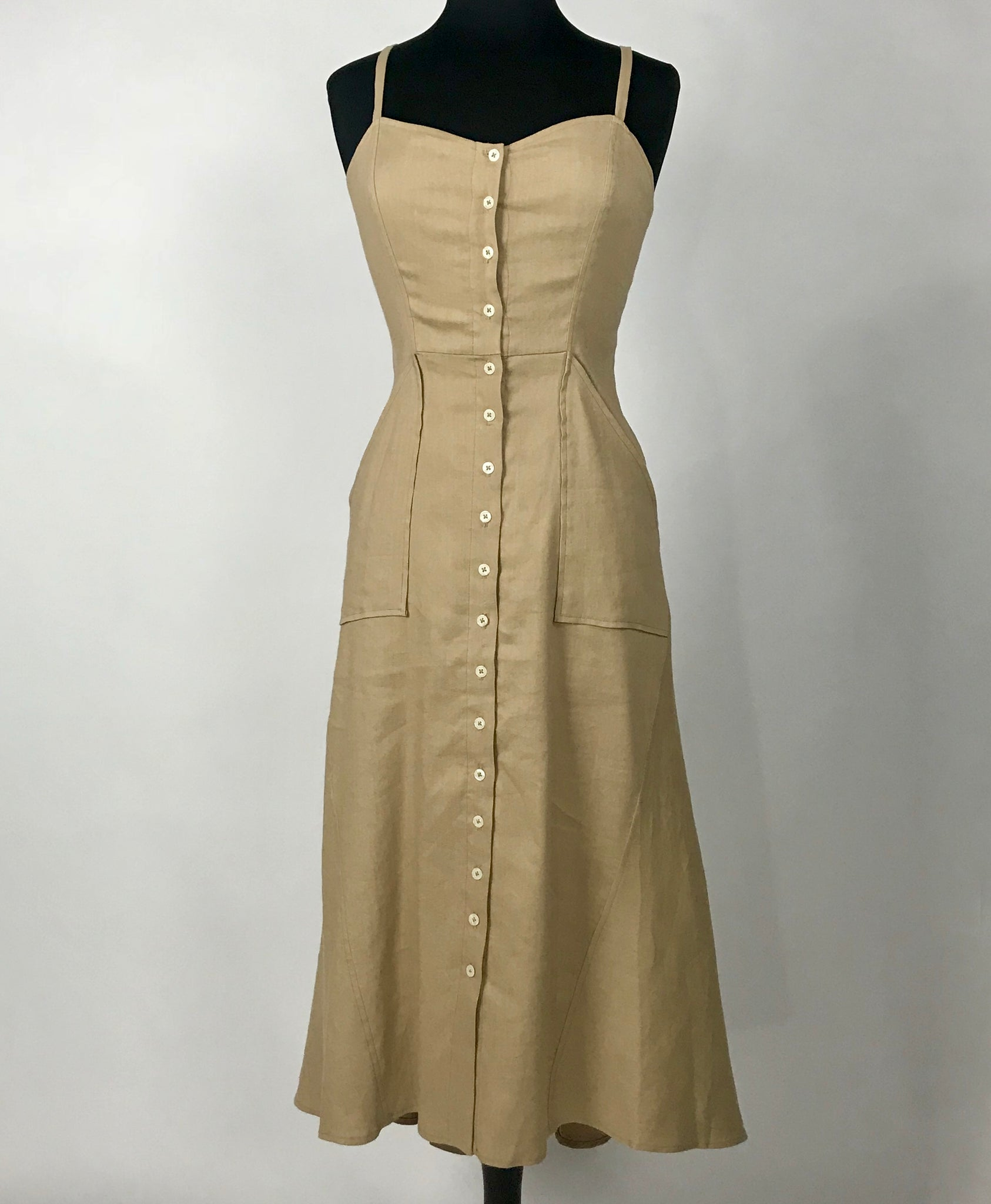 A.L.C. Natural Button Front Midi Dress