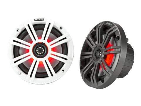 "Marine Speaker Kicker KM 6.5"" LED Coaxial Speakers"