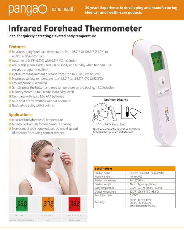 Pangao Infrared IR digital non-contact thermometer information features and applications PPE Health Canada Medical device Class II 2 Toronto Iconthin Biotech Corp Temperature measurement Fever testing covid-19