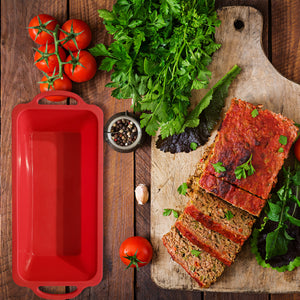 Silicone Bread Loaf & Meatloaf Baking Pan With Metal Reinforced Handle