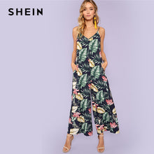 Load image into Gallery viewer, SHEIN Multicolor Vacation Bohemian Beach Backless Jungle Leaf Print Cami Mid Waist Jumpsuit Summer Women Weekend Casual Jumpsuit