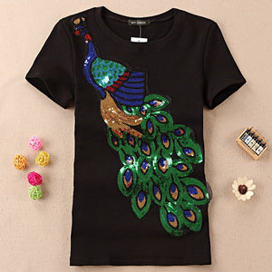 Women's Cotton T Shirts Short Sleeve Peacock Sequins Embroidery Tops For Women Plus Size T Shirts Black White Ladies Summer Tees