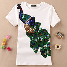 Load image into Gallery viewer, Women's Cotton T Shirts Short Sleeve Peacock Sequins Embroidery Tops For Women Plus Size T Shirts Black White Ladies Summer Tees