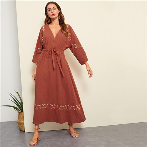 Boho Bohemian Beach Flower Embroidered Plunging Neck Drawstring Dress