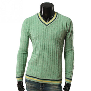 Men's Spring Autumn Winter British Preppy Style Knitwear Color-Block V Neck Knitted Sweater Casual Pullover