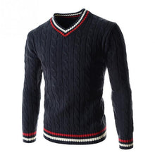 Load image into Gallery viewer, Men's Spring Autumn Winter British Preppy Style Knitwear Color-Block V Neck Knitted Sweater Casual Pullover