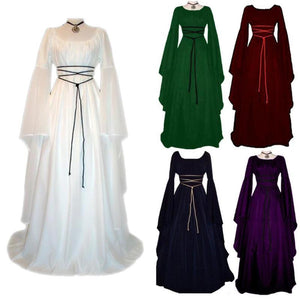 2018 Women Fashion Vintage Style Women Gothic Dress Medieval Dress Up Floor Women Retro Dress Cosplay Dress Long Dress