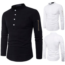 Load image into Gallery viewer, Men's Autumn Casual Stand Collar Slim Fit Cotton Long Sleeve Shirt Top Blouse
