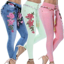Load image into Gallery viewer, Women's Denim Rose Embroidered Skinny Jeans
