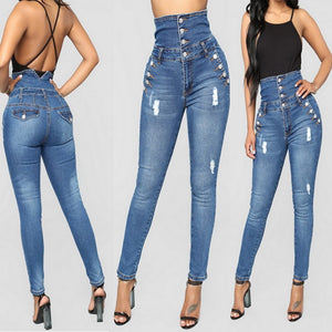 Slim Fit Stretchy Blue Ripped jeans