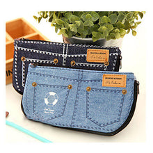 Load image into Gallery viewer, Fashion Jean Blue Women's Makeup Bag Storage Bag Denim Purse Phone Stationery Pencil Case