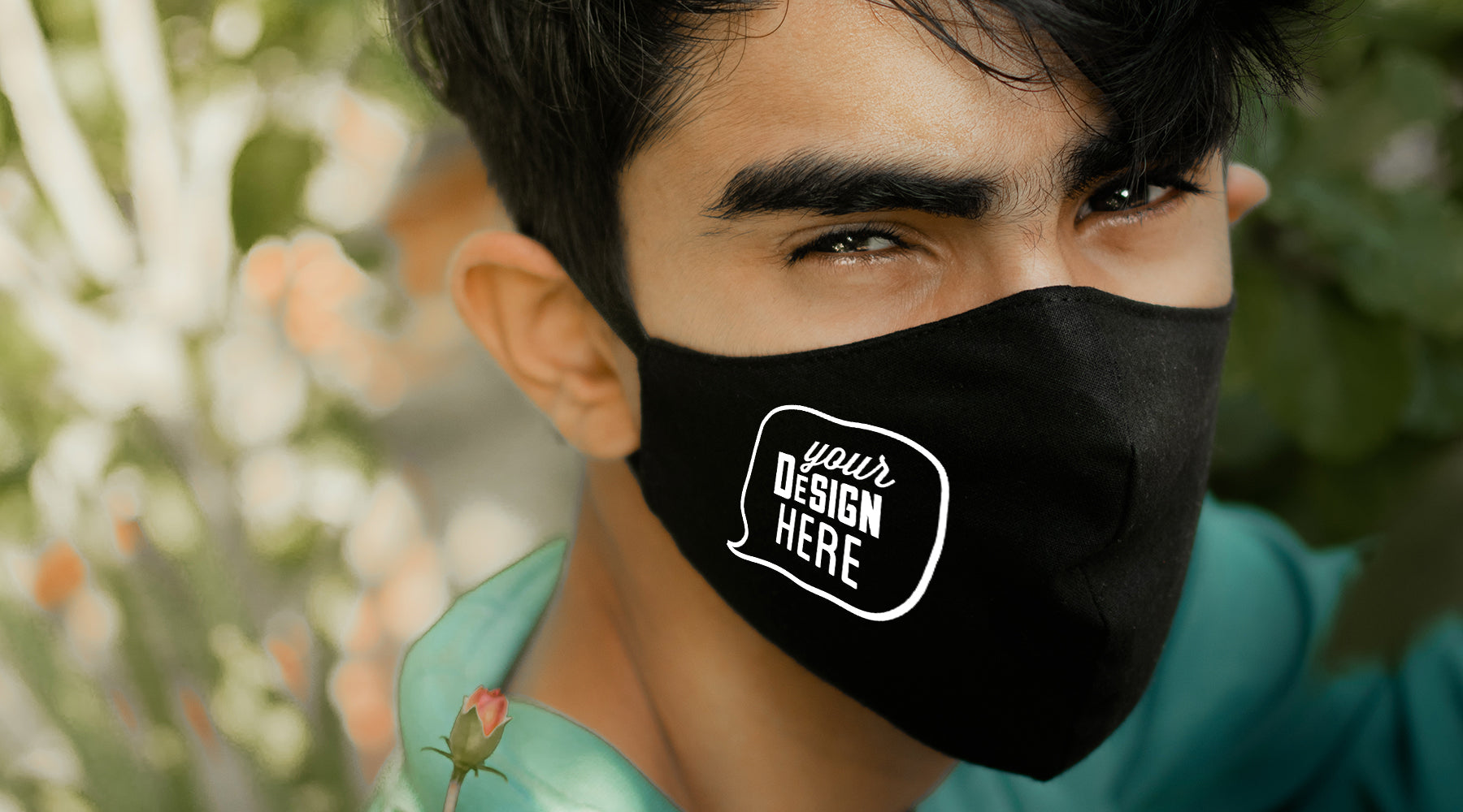 Organic Fair Trade face masks can be custom printed for sale, online events or company merchandise