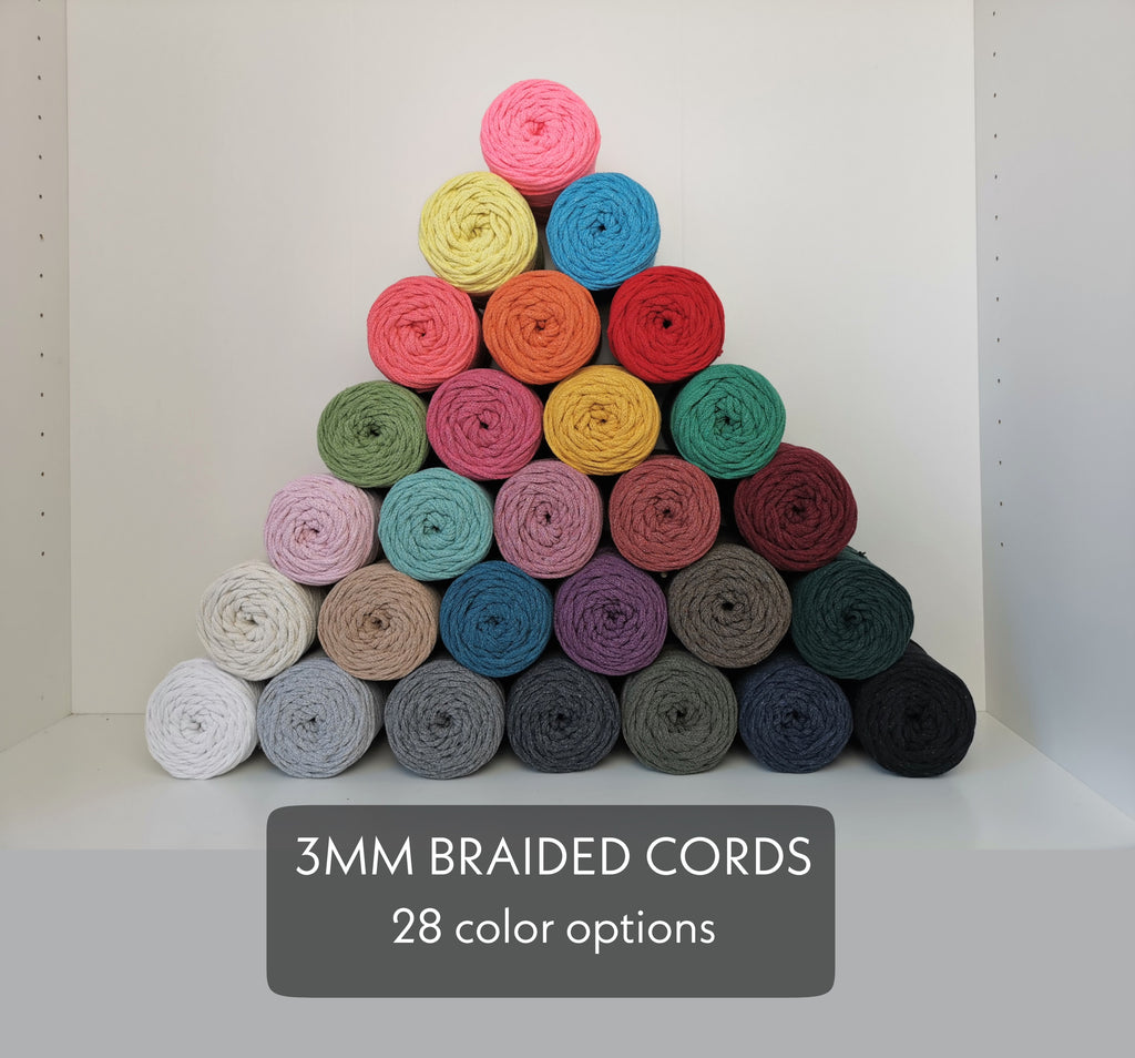 3mm BRAIDED COTTON CORD, Macrame String, Macrame Cotton Cord, Braided Cotton Twine, Bracelet, Jewellery Making, Diy Craft Supply, 28 Colors