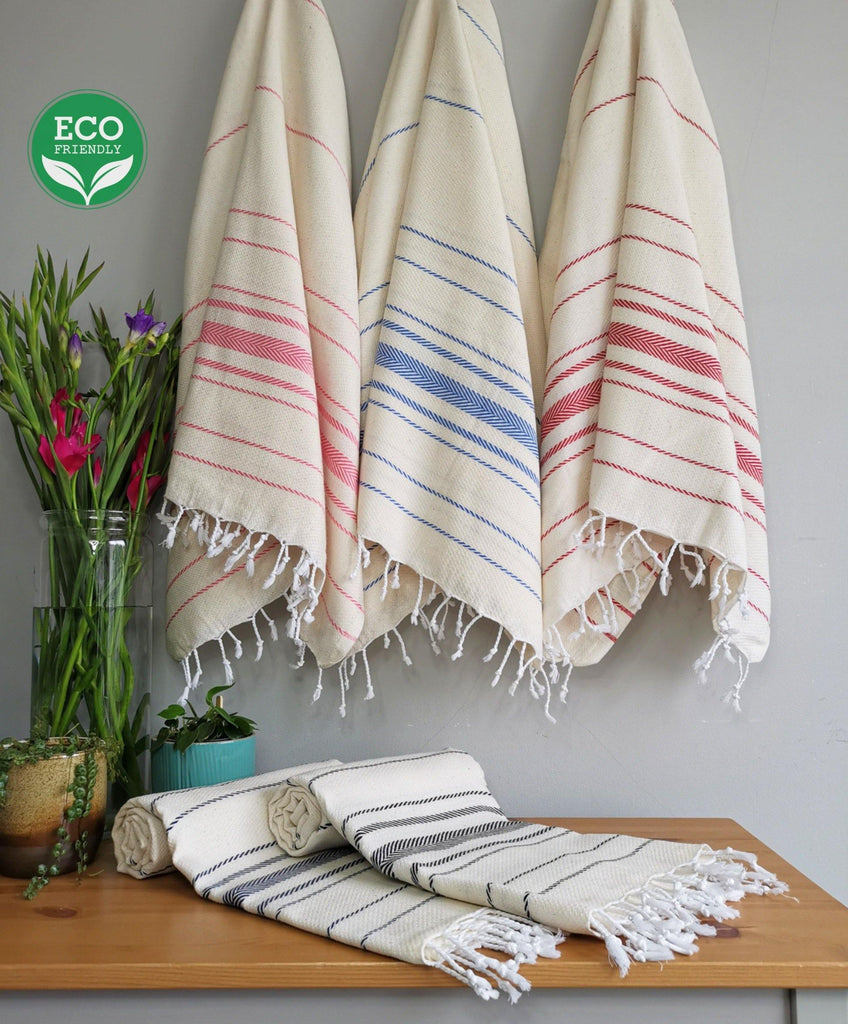 COTTON TURKISH TOWEL - Eco Friendly Peshtemal - Soft, Sand Free, Lightweight - Gift For Friend - Buluty