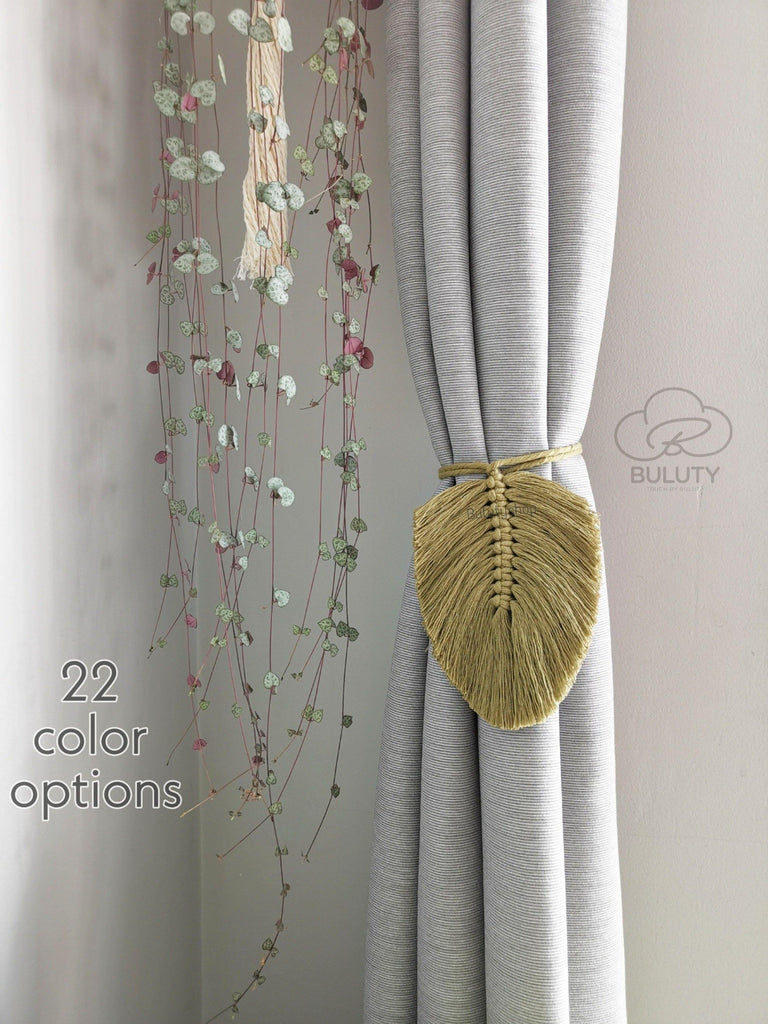 Macrame Curtain Holder Minimalist Leaf, Curtain Tieback - Buluty
