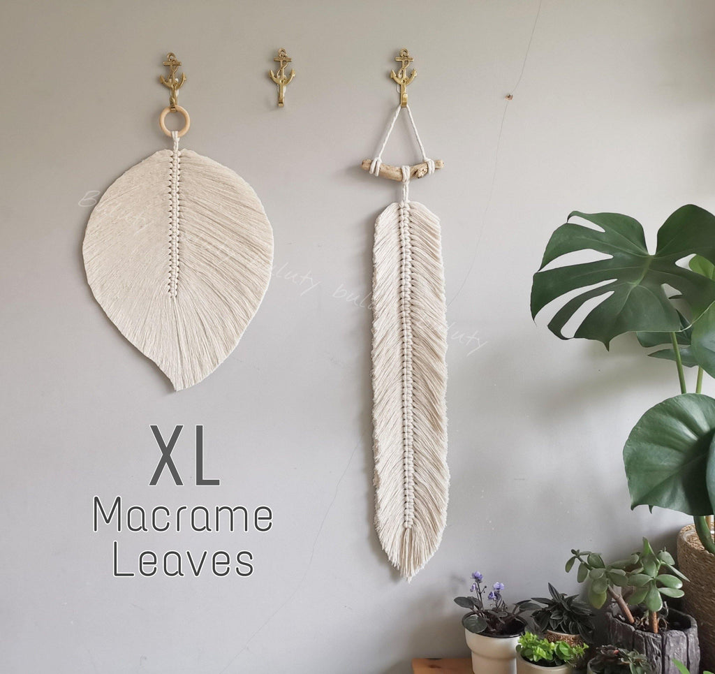 XL Macrame Leaf Wallhangers - Oblong and Cordate Feather Wall Decor - Buluty