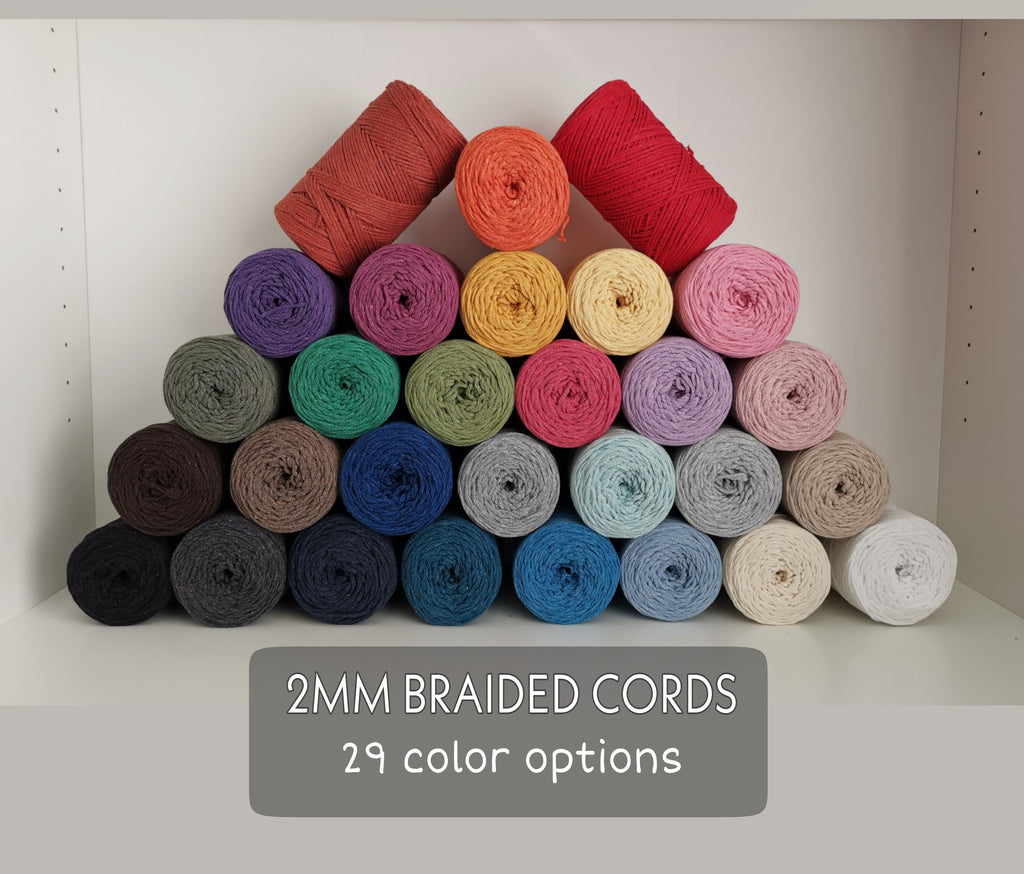 2mm BRAIDED COTTON CORD 50 Meters - Macrame String, Macrame Cotton Cord, Braided Cotton Twine, Bracelet, Jewellery Making