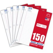 "Norcom 5-Pack Filler Paper, 150 Sheets, Wide Ruled, 10.5"" x 8"""