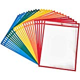 Dry Erase Pockets Reusable Plastic Paper Sleeves,9 x 12 Inches,Mixed Colors, school Supplies Clear Folders(10-Pack)