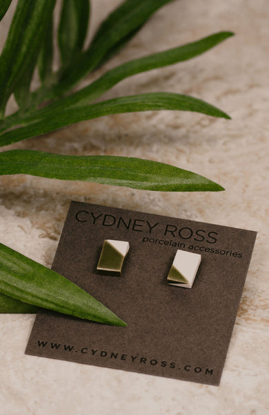Cydney Ross Cream & Green Post Earrings