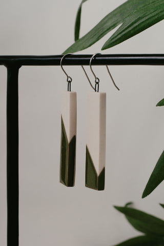 Cydney Ross Cream & Green Drop Earrings