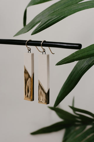 Cydney Ross Cream & Gold Drop Earrings